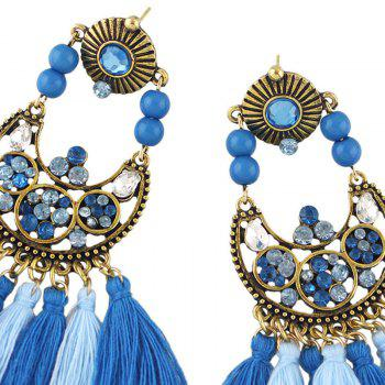 Tassel Rhinestone Bead Decorated Drop Earrings - BLUE