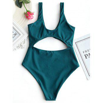 High Rise Cut Out Front Tied Swimwear - MALACHITE GREEN M