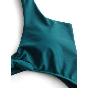 High Rise Cut Out Front Tied Swimwear - MALACHITE GREEN S