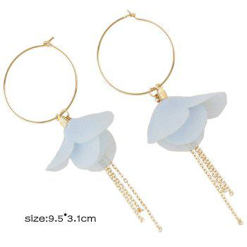 Flower Decorated Fringed Hoop Drop Earrings - BLUE