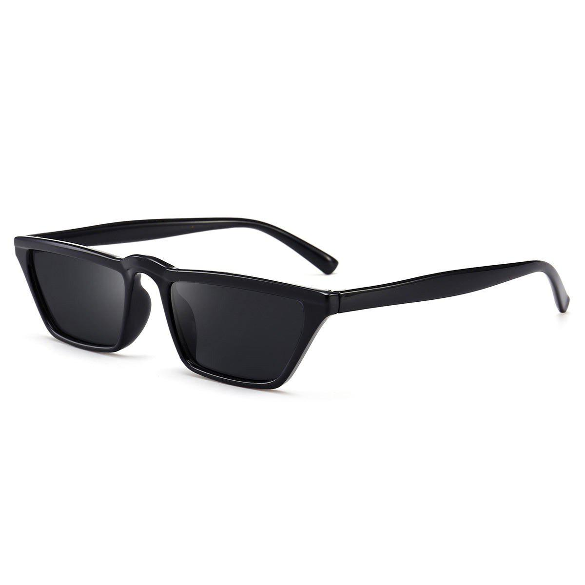 Narrow Frame Cat Eye Sunglasses - BLACK