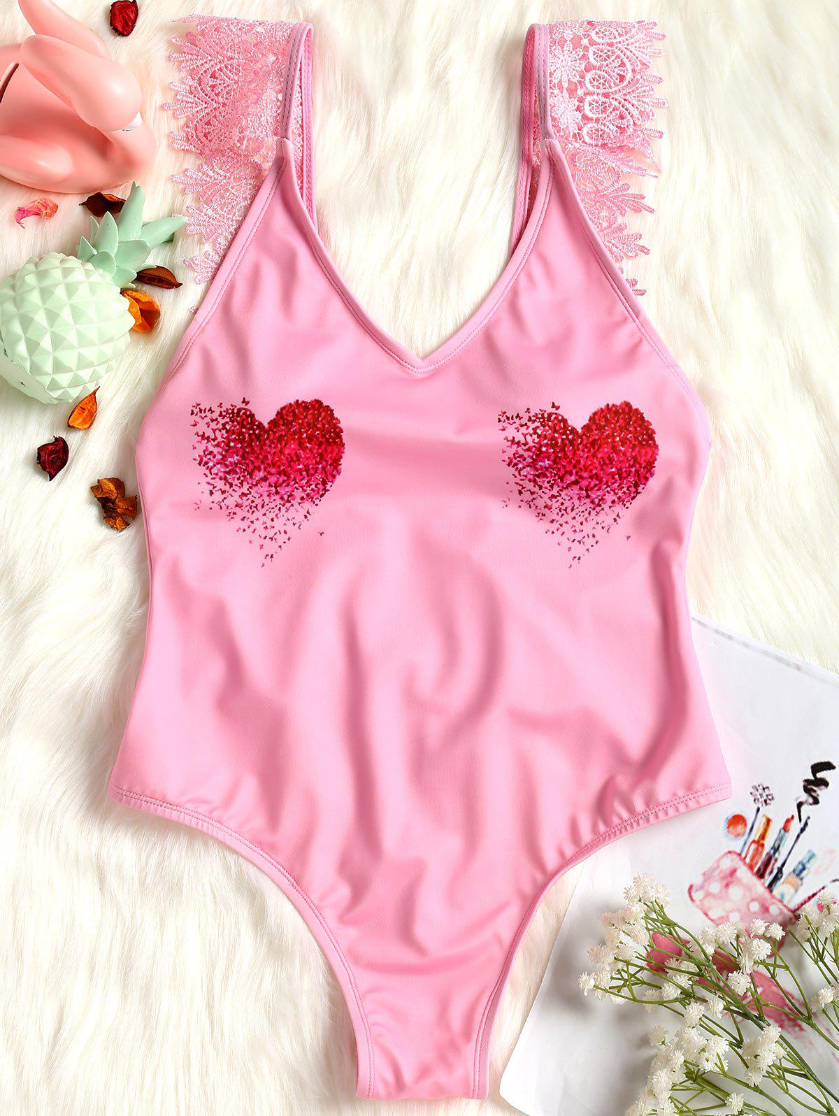 Valentine Lace Applique Backless Plunge Swimsuit - PINK L