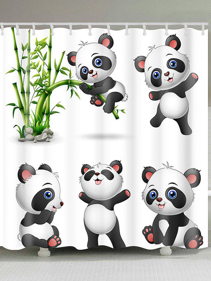 Cute Pandas Pattern Showerproof Bath Curtain - BLACK WHITE W71 INCH * L79 INCH