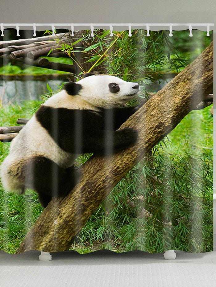Climbing Tree Panda Printed Showerproof Bath Curtain - GREEN W71 INCH * L79 INCH