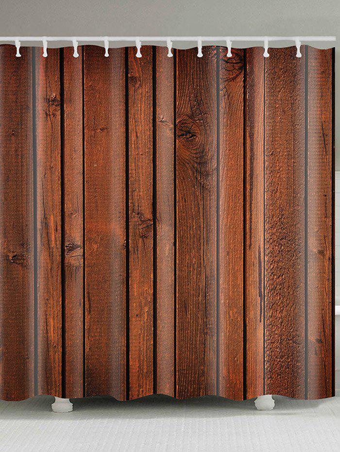 Wood  Board Printed Showerproof Bathroom Curtain - BROWN W59 INCH * L71 INCH