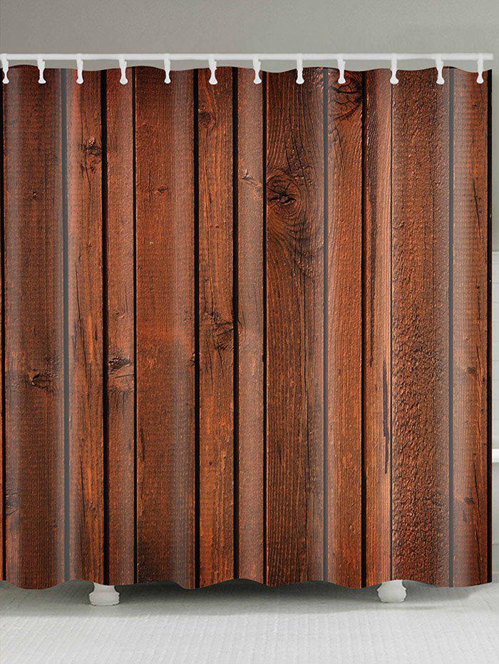 Wood  Board Printed Showerproof Bathroom Curtain - BROWN W71 INCH * L71 INCH