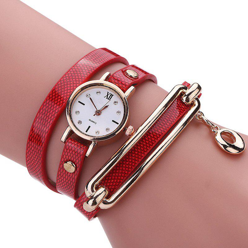 Faux cuir Wrap Bracelet Strass Montre - Rouge