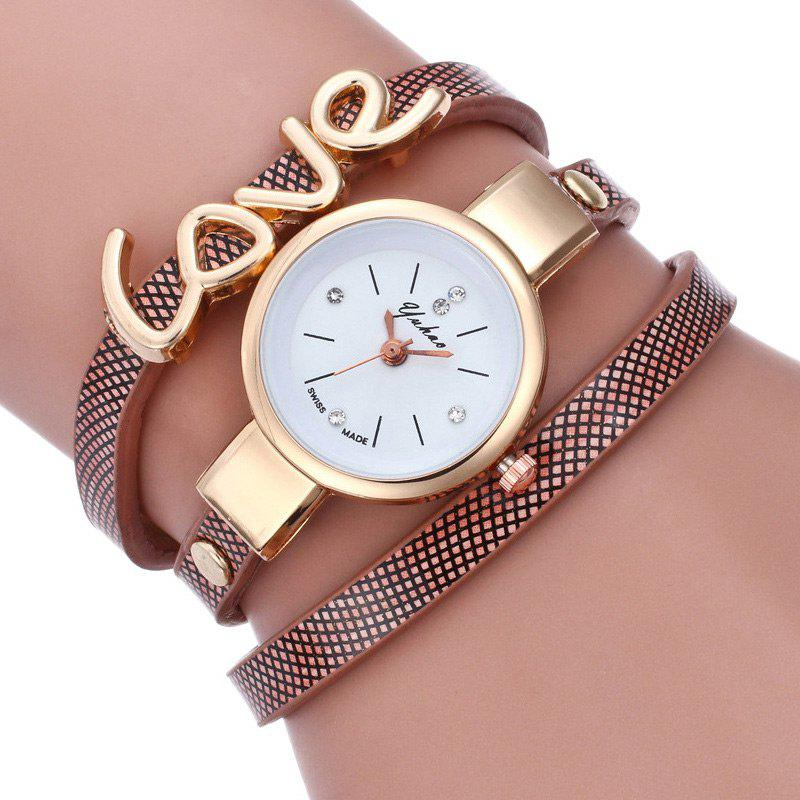 Montre-Bracelet avec Inscription Love - Brun