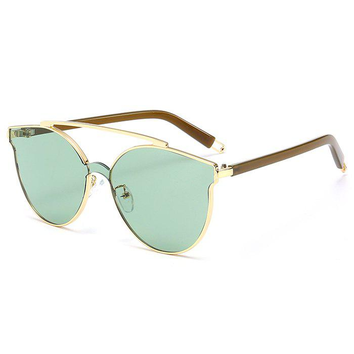 Anti-fatigue Crossbar Decorated Cat Eye Sunglasses - GREEN