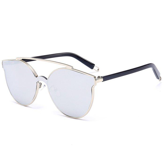 Anti-fatigue Crossbar Decorated Cat Eye Sunglasses - SILVER FRAME / WHITE LENS
