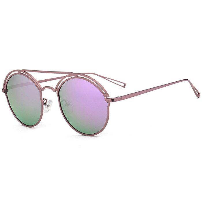 Unique Metal Ful Frame Hollow Out Oval Sunglasses - PURPLE/PURPLE
