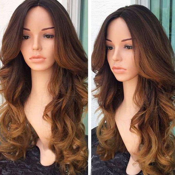 Long Middle Part Colormix Wavy Synthetic Fiber Wig - COLORMIX