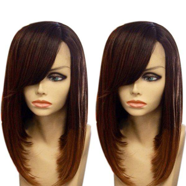 Medium Oblique Bang Gradient Straight Synthetic Wig - DRAK WINE RED OMBRE