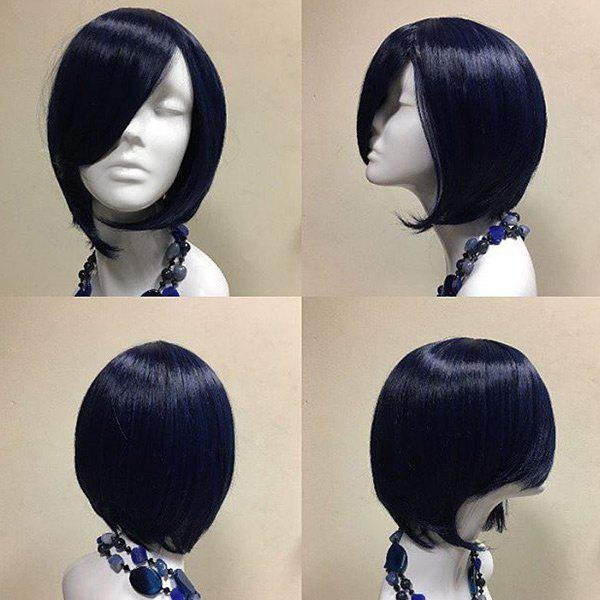 Short Oblique Bang Straight Party Synthetic Wig - DARK BLUE