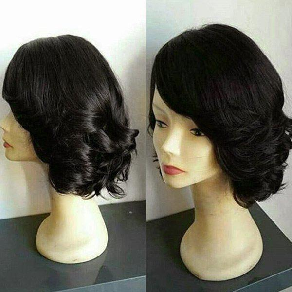 Short Oblique Bang Wavy Party Synthetic Wig - NATURAL BLACK