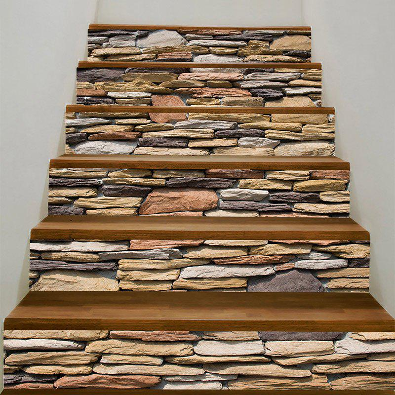 Stones Wall Pattern Stair Stickers - COLORFUL 100*18CM*6PCS