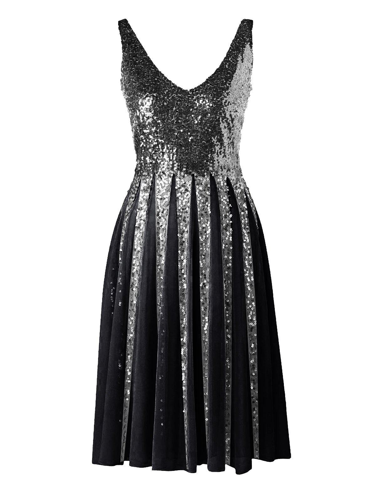 Sequined Sleeveless Chiffon Dress - BLACK L