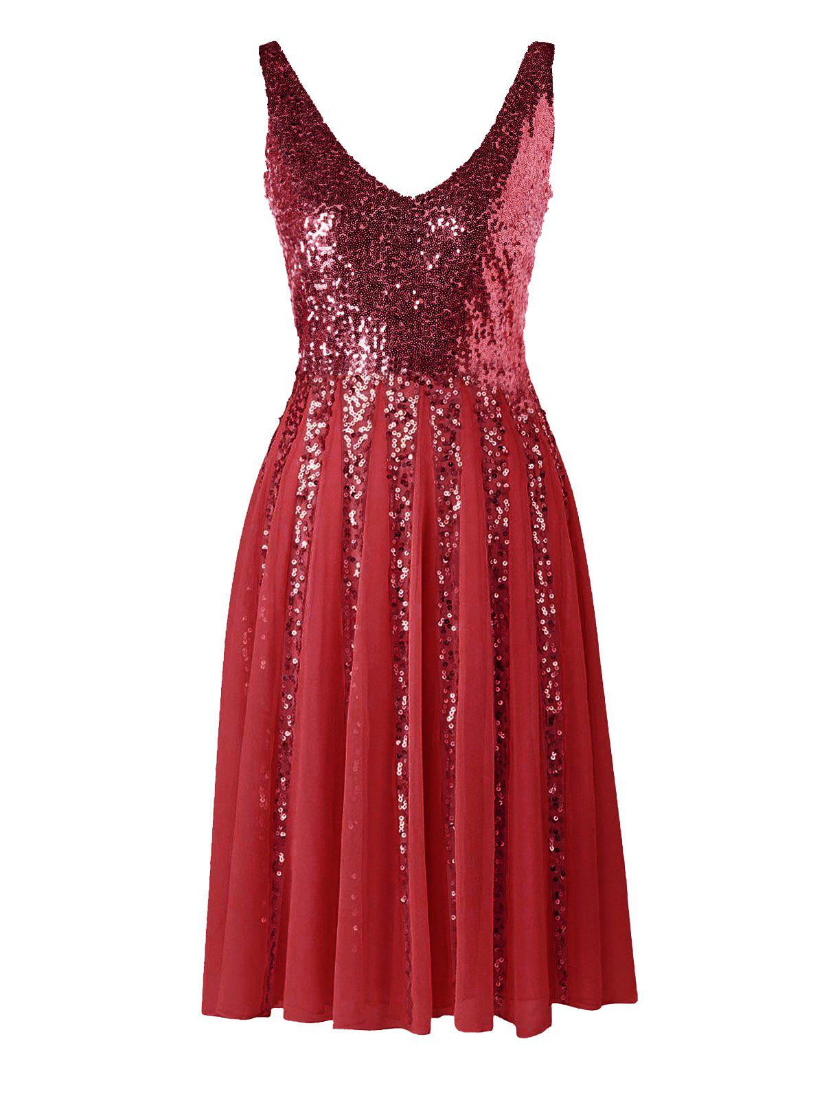 Sequined Sleeveless Chiffon Dress - WINE RED M