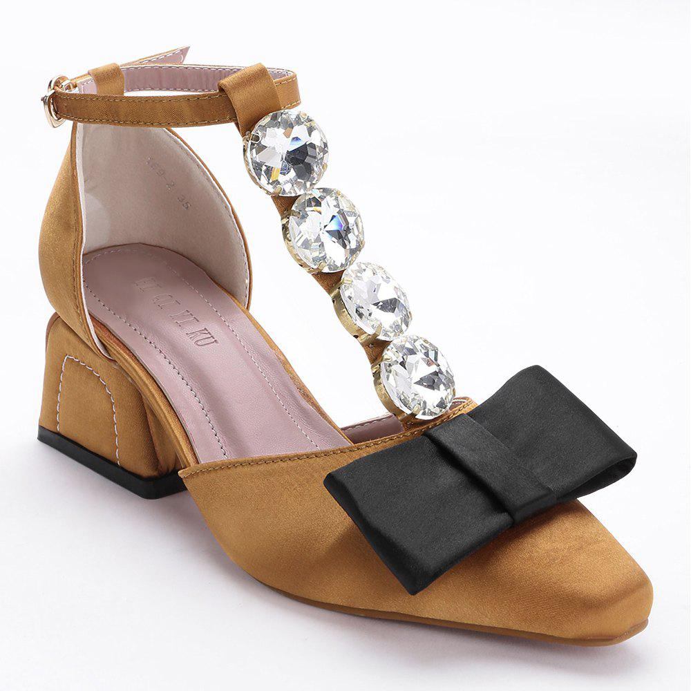 цены T Strap Block Heel Pumps