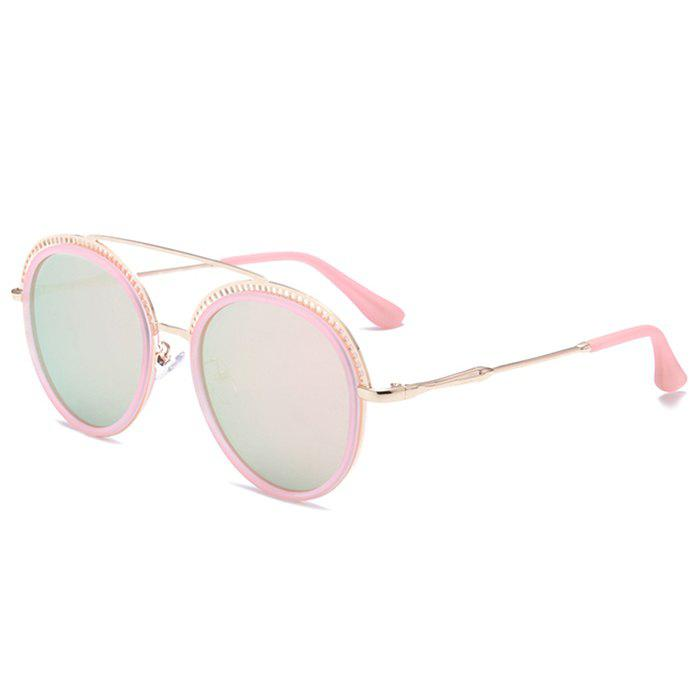 Unique Crossbar Hollow Out Decorated Round Sunglasses - PINK FRAME/PINK LENS