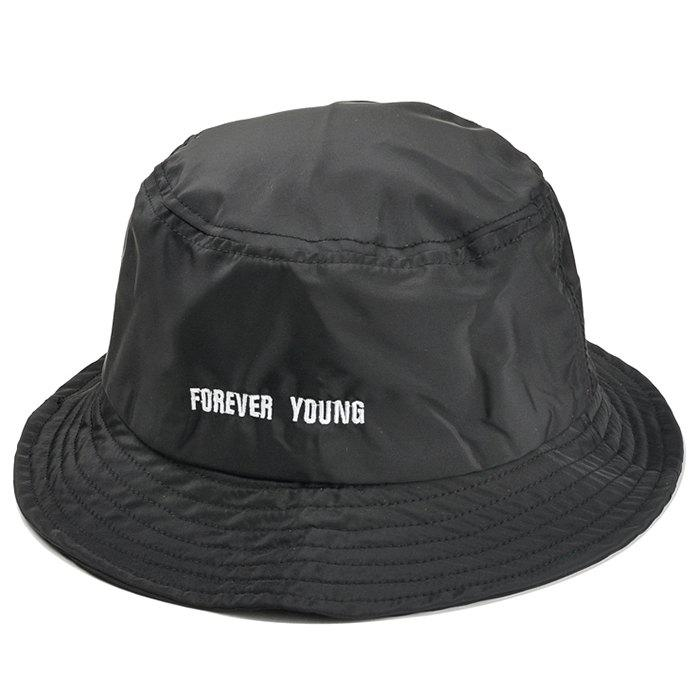 Forever Young Pattern Embroidery Bucket Cap - BLACK