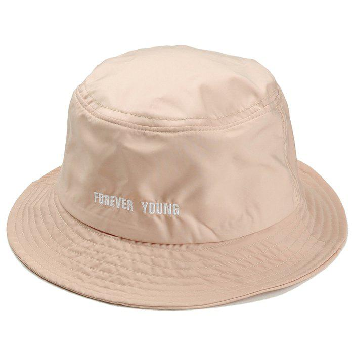 Forever Young Pattern Embroidery Bucket Cap - BEIGE
