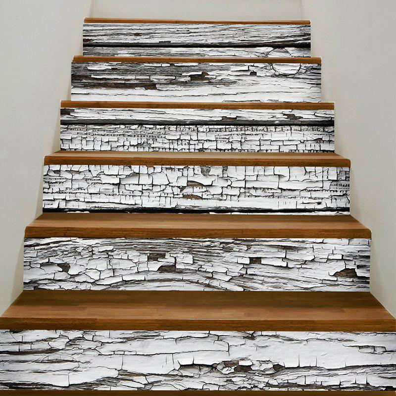 Paint Peeling Wood Board Printed Stair Decals - GREY WHITE 100*18CM*6PCS