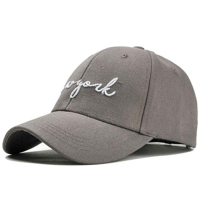 Unique Letter Embroidery Adjustable Canvas Baseball Cap - GRAY