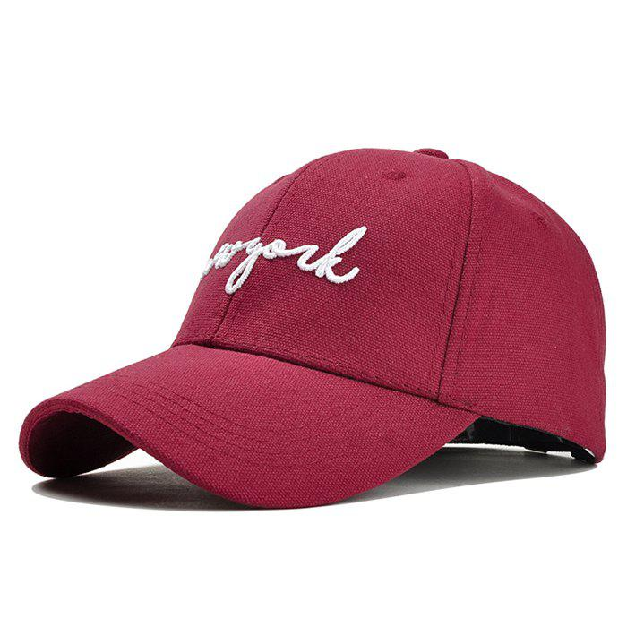Unique Letter Embroidery Adjustable Canvas Baseball Cap - WINE RED