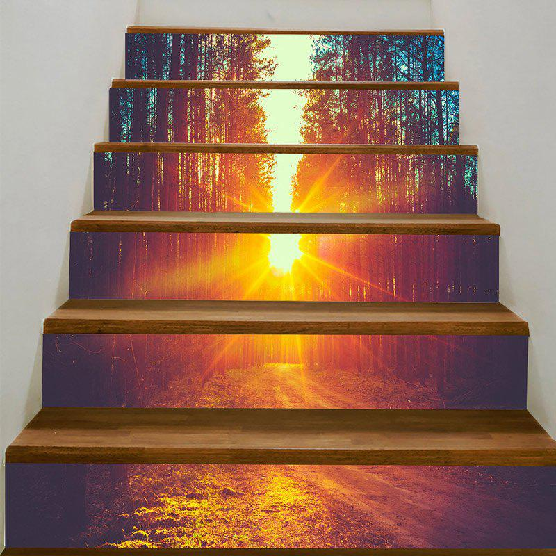 Sunset Forest Pathway Print Decorative Stair Stickers - ORANGE 100*18CM*6PCS