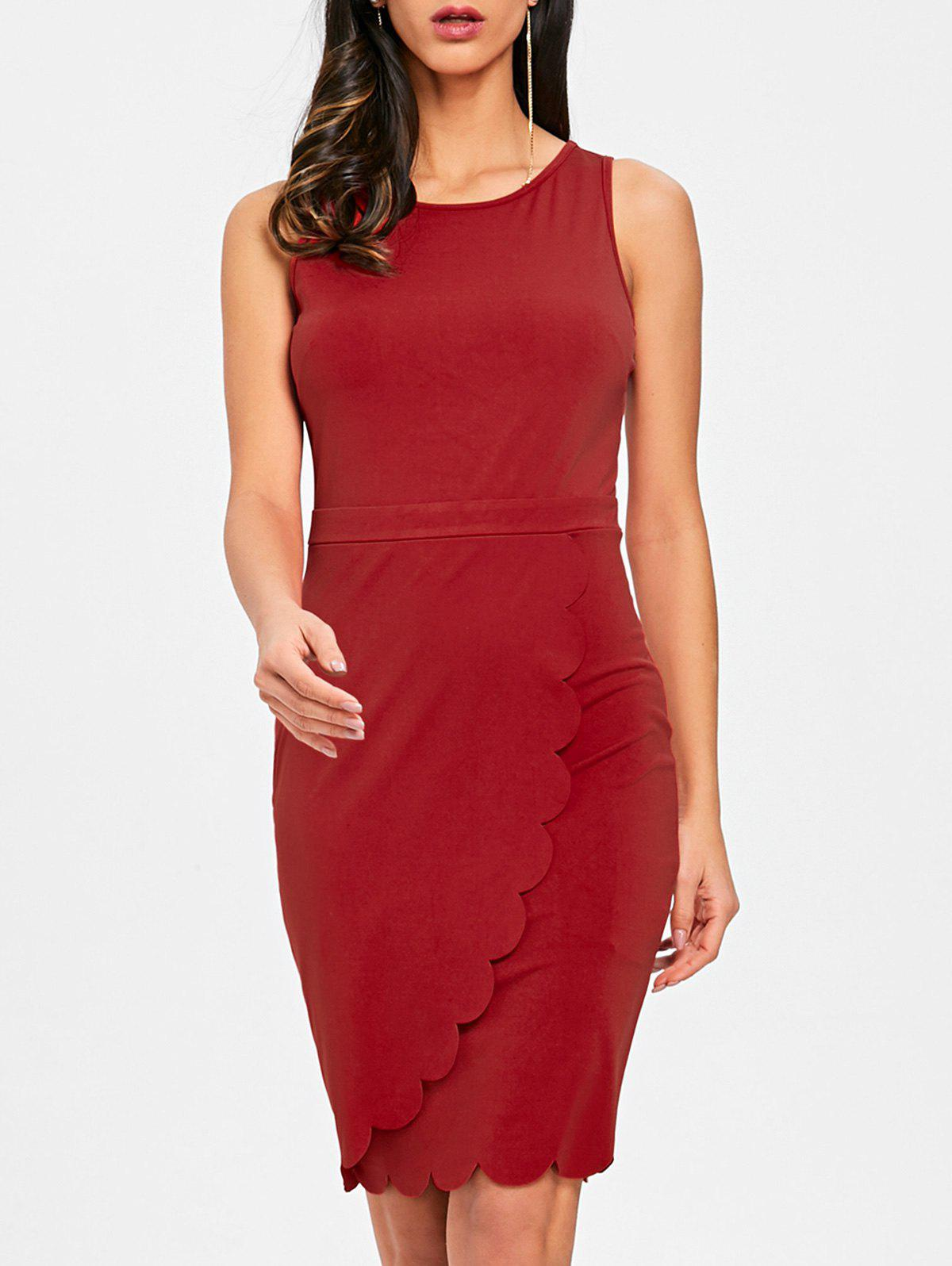Sleeveless Scalloped Edge Bodycon Dress - RED M