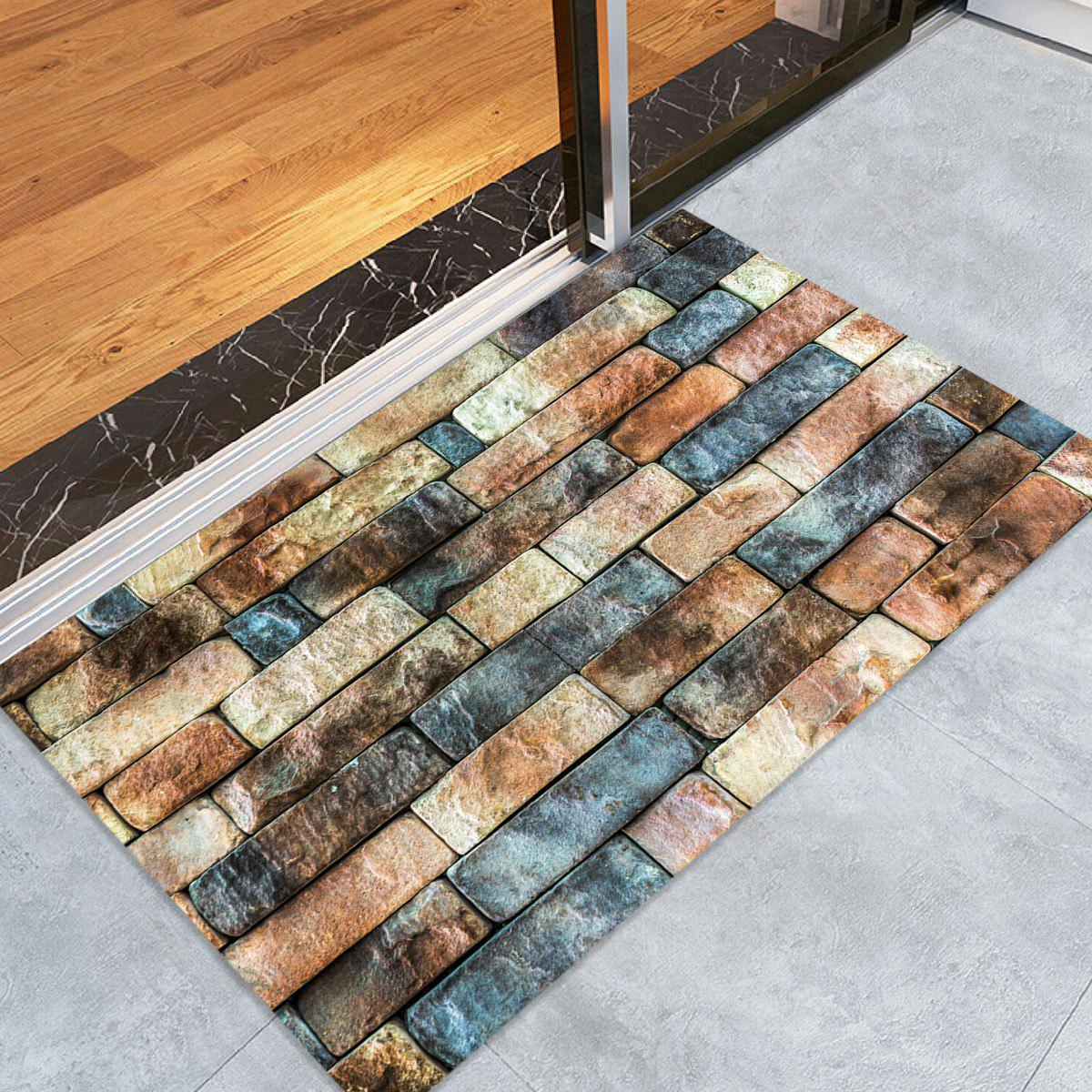 Brick Wall Pattern Floor Area Rug - COLORMIX W24 INCH * L35.5 INCH