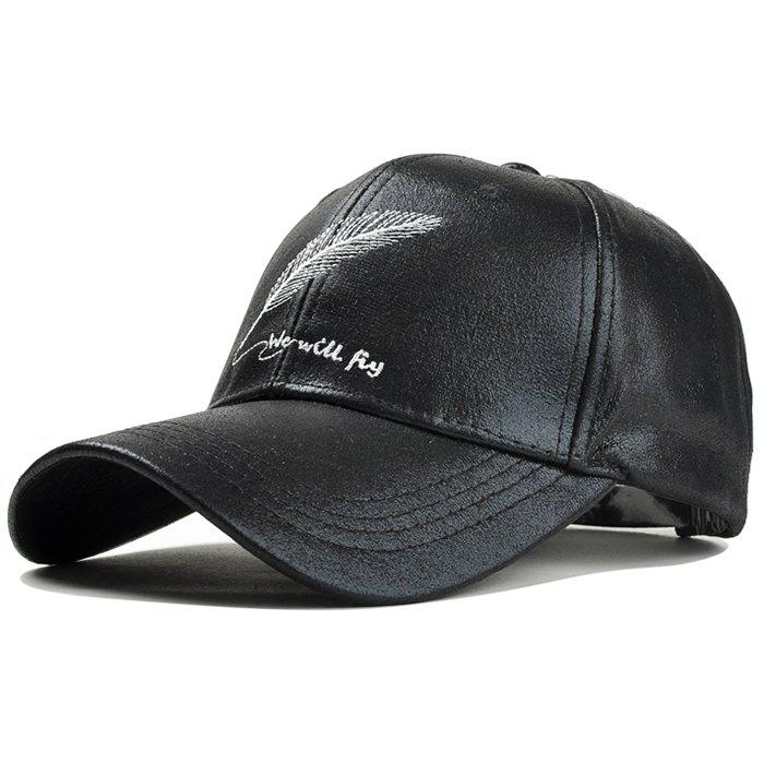 Vintage Feather Embroidery Faux Leather Baseball Cap - BLACK