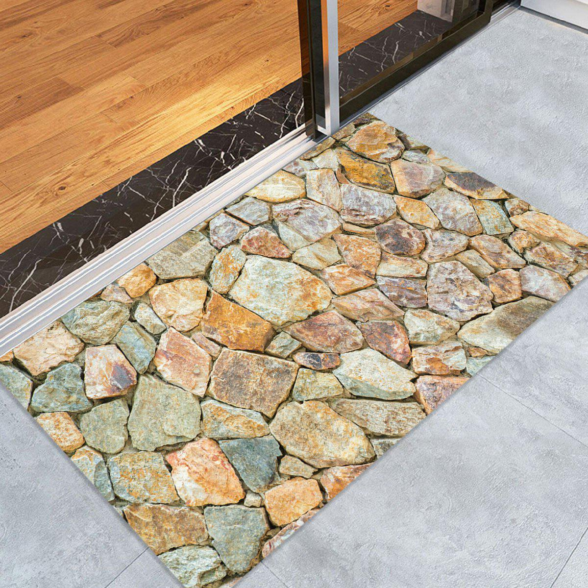 Stones Wall Pattern Indoor Outdoor Area Rug - EARTHY W16 INCH * L24 INCH