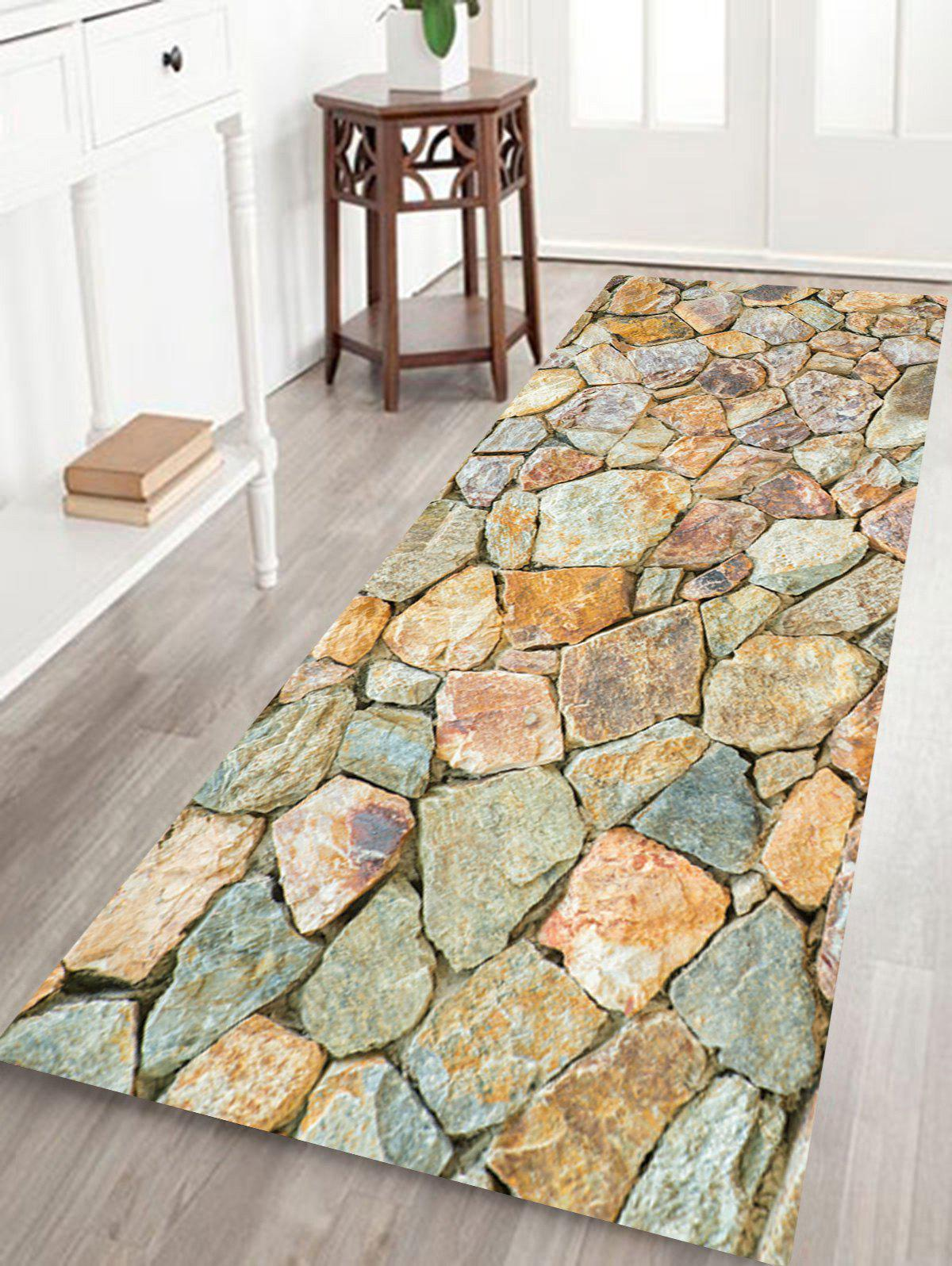 Stones Wall Pattern Indoor Outdoor Area Rug - EARTHY W24 INCH * L71 INCH