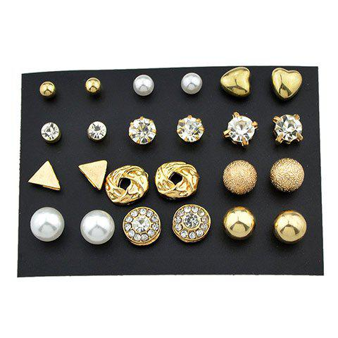 Simple Geometric Stud Earrings Set - COLORMIX