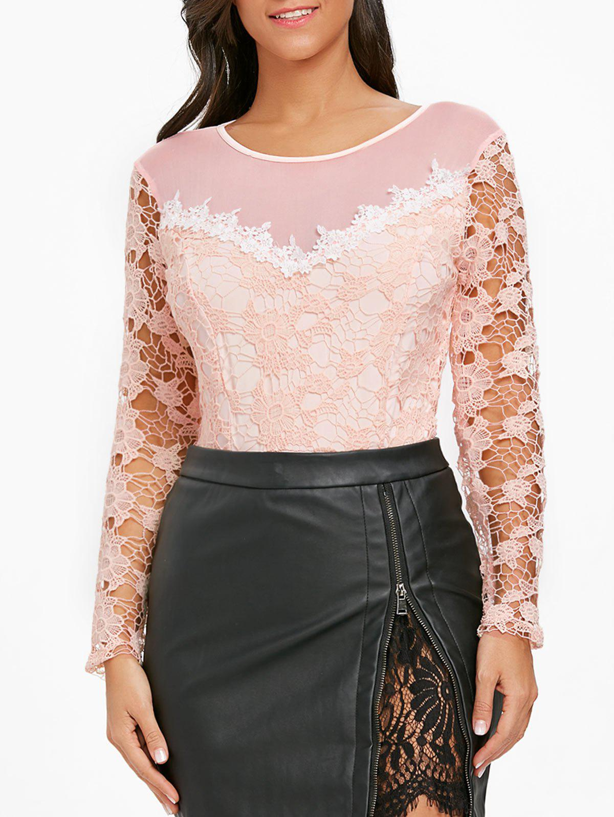 Mesh Panel Lace Long Sleeve Bodysuit - PINK L