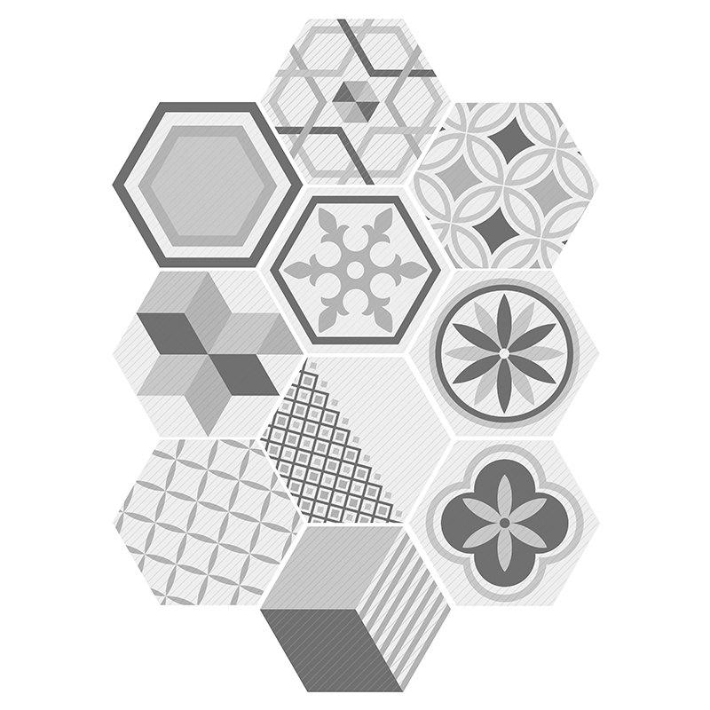 10PCS Hexagon Shape Geometric Wall Art Decals - COLORMIX