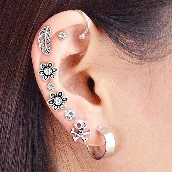 Alloy Ear Cuff and Floral Stud Earring Set - SILVER