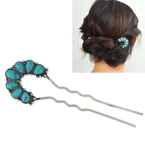 Artificial Turquoise Teardrop Hair Stick - BLUE