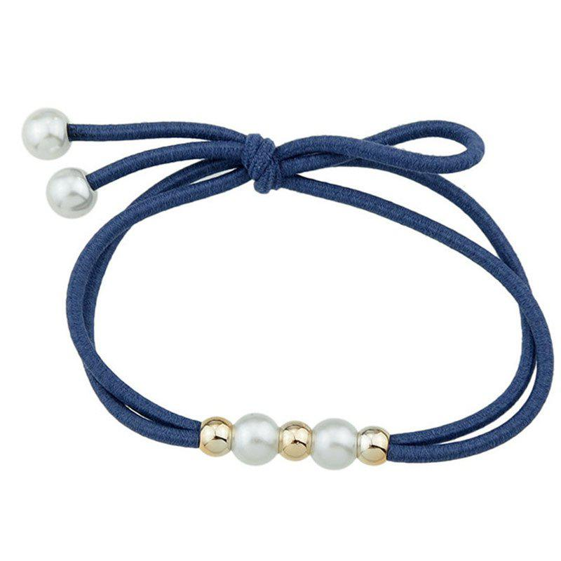 Multilayered Faux Pearl Elastic Hair Band - LIGHT BLUE