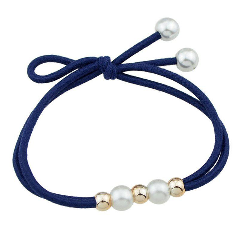 Multilayered Faux Pearl Elastic Hair Band - CADETBLUE