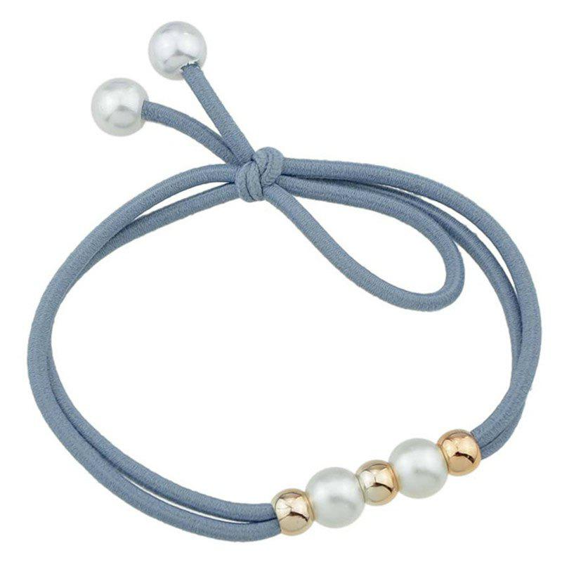 Multilayered Faux Pearl Elastic Hair Band - BLUE