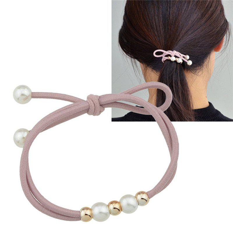 Multilayered Faux Pearl Elastic Hair Band - PINK