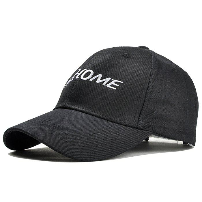 Simple Letter Pattern Embroidery Baseball Cap - BLACK