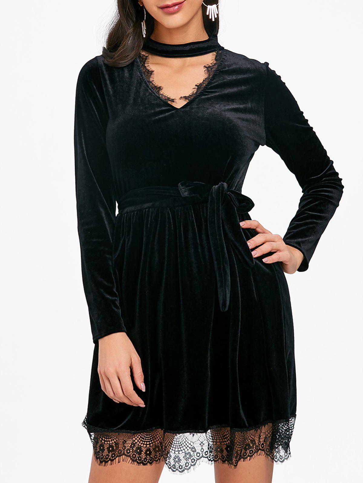 Lace Ttrimmed Belted Velvet Dress - BLACK L