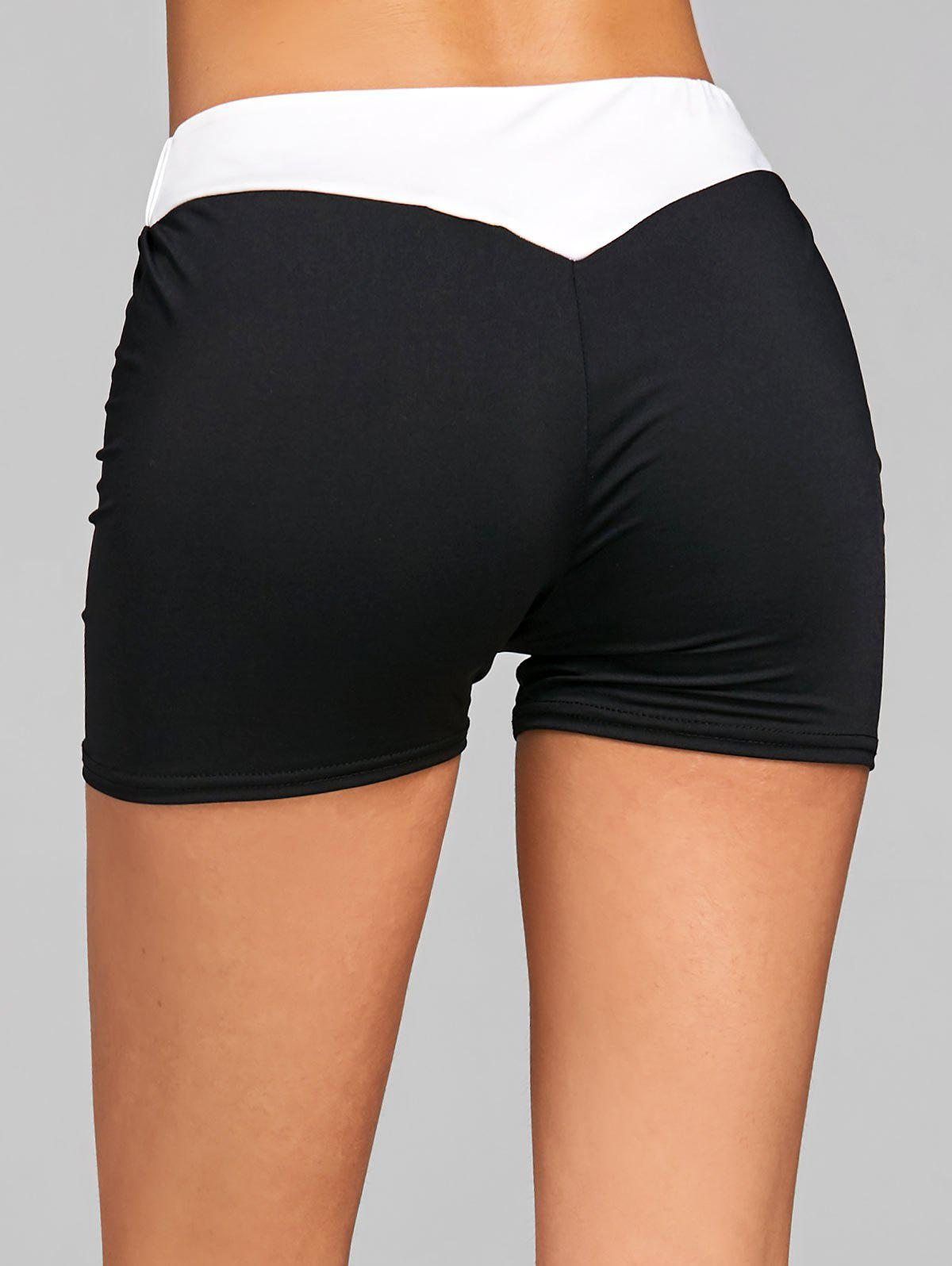 Elastic Waist Two Tone Sports Shorts inuovo 7132