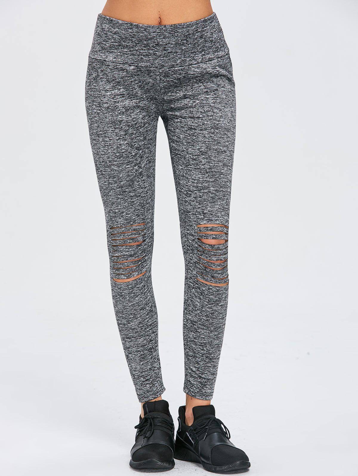 Skinny Distressed Sports Leggings - GRAY XL