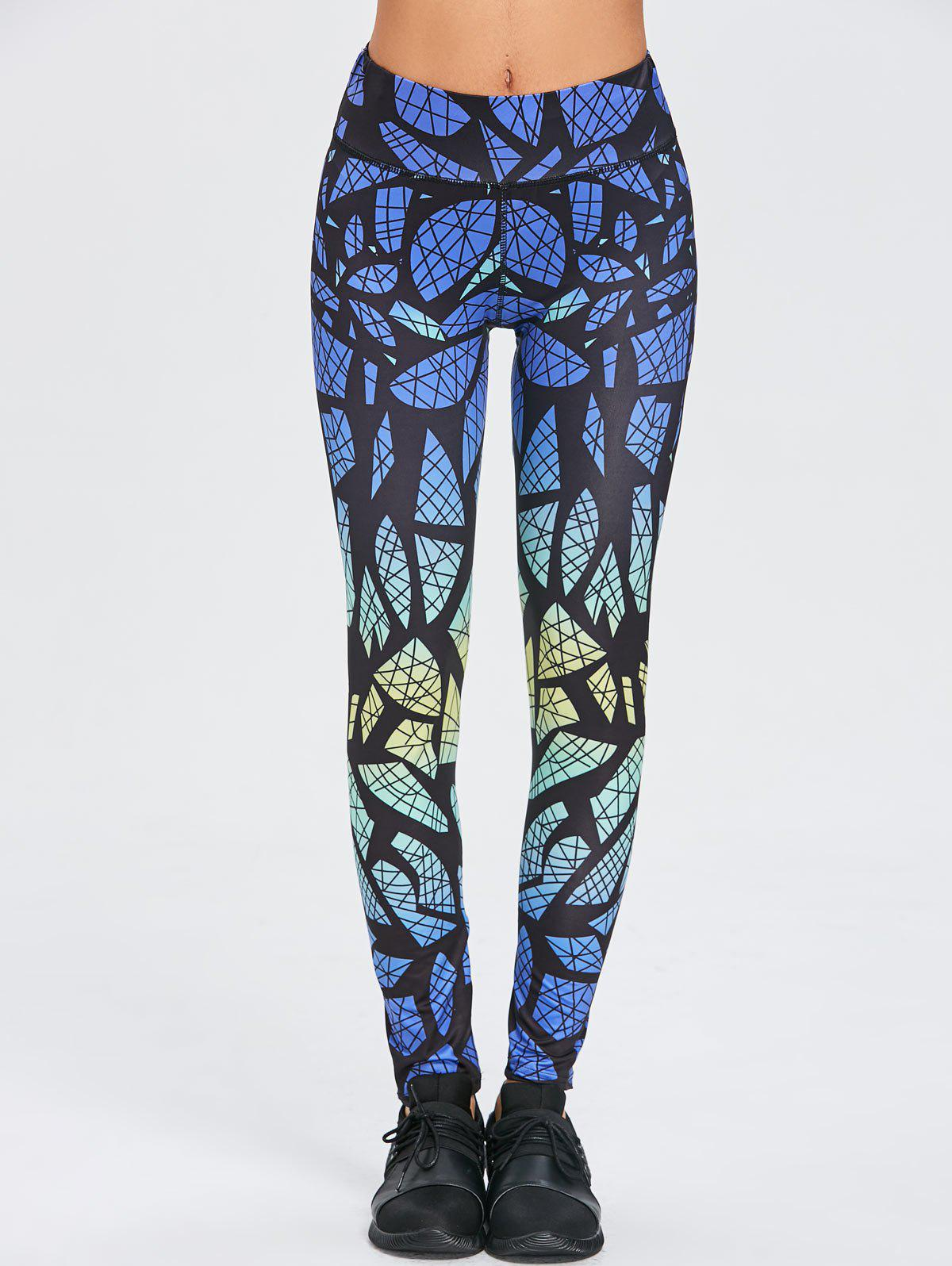 High Waist Geometric Workout Leggings - COLORMIX L