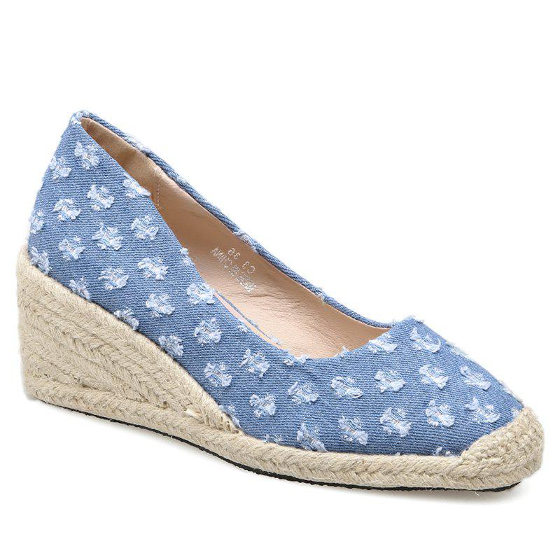 Distressed Knitted Espadrille Wedge Shoes - BLUE 40